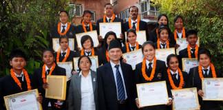 Baburam Bhattari Rewarding ACC U-19 Women Championship Team
