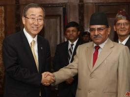 Ban Ki-moon with Prachanda Lumbini Project