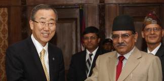 Ban Ki-moon with Prachanda Lumbini Project