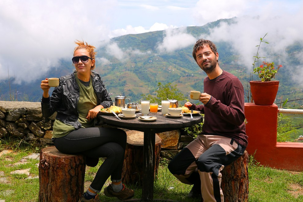Eating food in Nepal Tourist