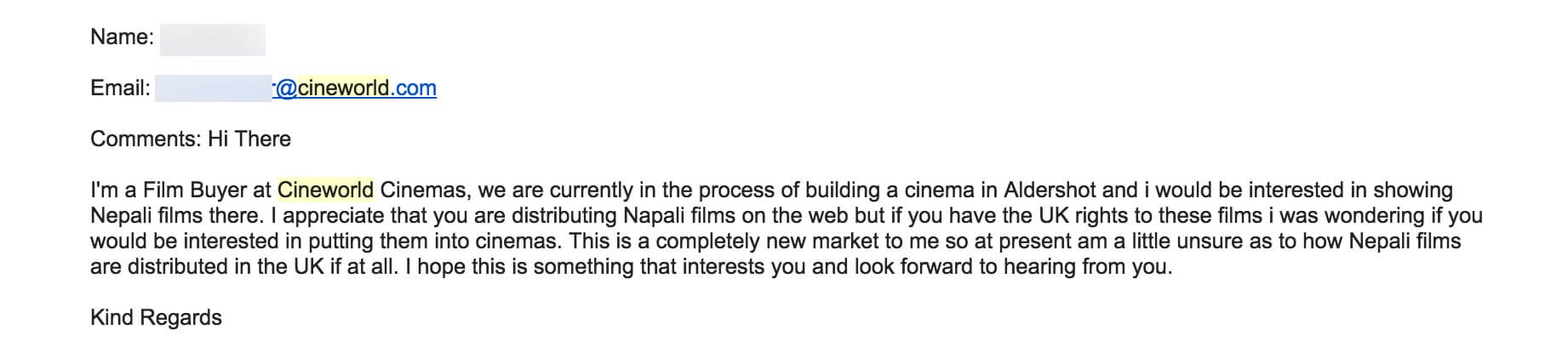 Film Buyer Cineworld for Nepali Movies