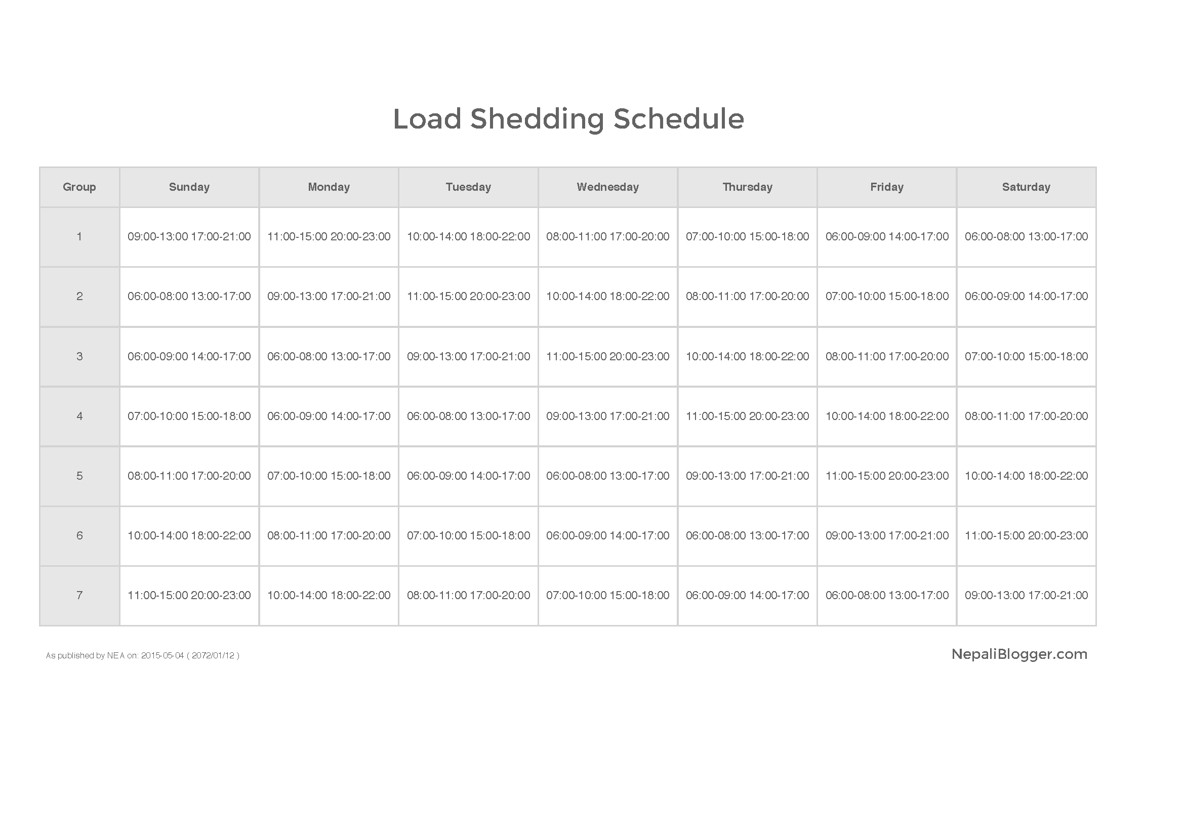Load Shedding Schedule Nepal Electricity