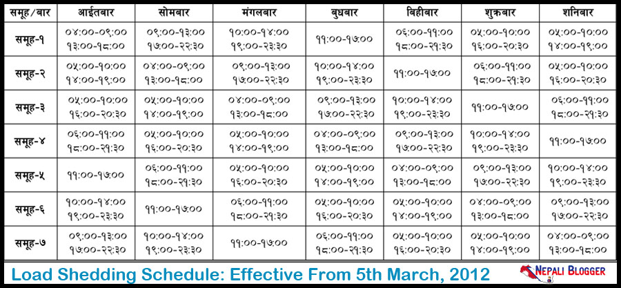 Load Shedding Schedule Nepal March 2012 Nepali Blogger