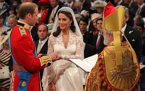 Prince William and Kate Middleton exchange rings