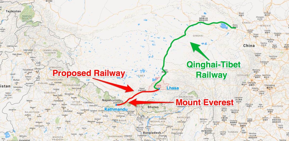 Proposed Railway Nepal China Map