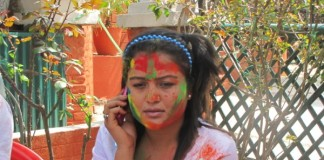 Rekha Thapa Playing Holi 2011 1