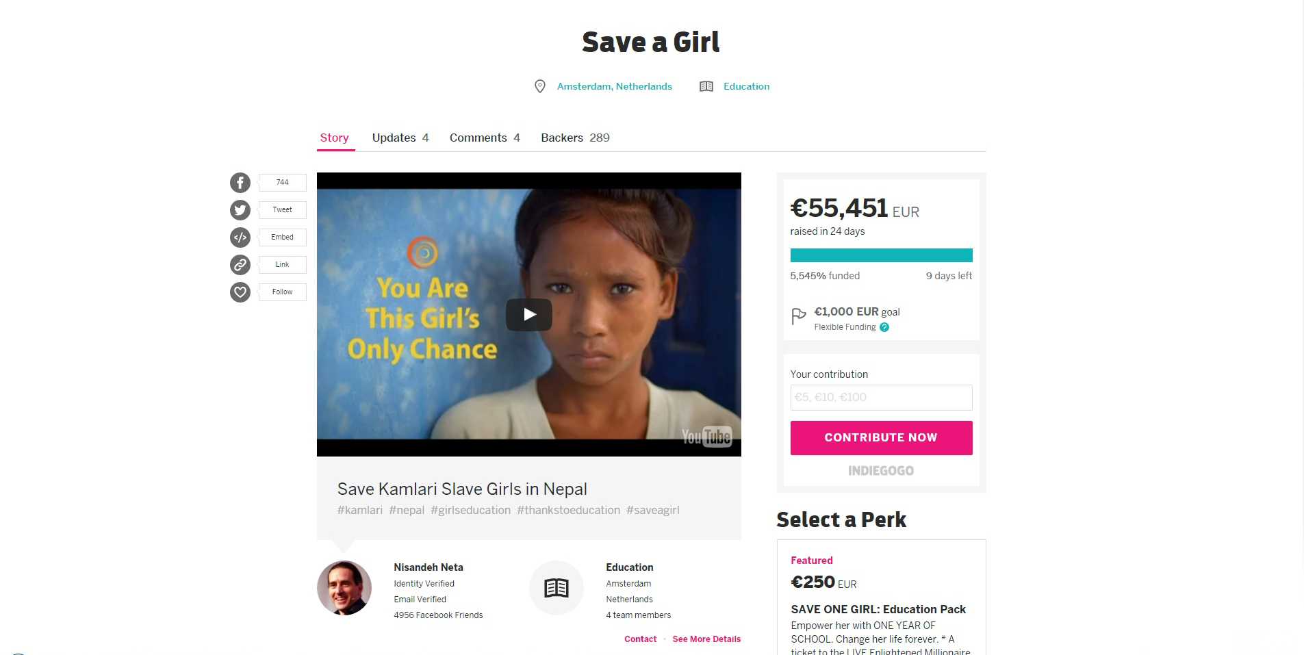 Save a girl - Indiegogo Campaign