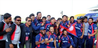 Team Nepal cricket after winning Match Hongkong
