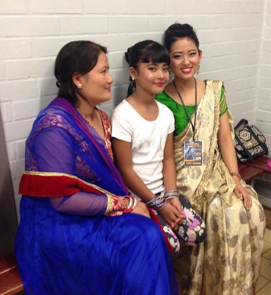 Teriya Magar with Mom and Gaumaya