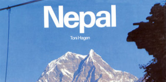 Toni Hagen's famous picture of Nilgiri from Tatopani taken in 1952 on the cover of his book, Nepal